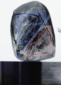 Surový diamant s označením možností brúsenia